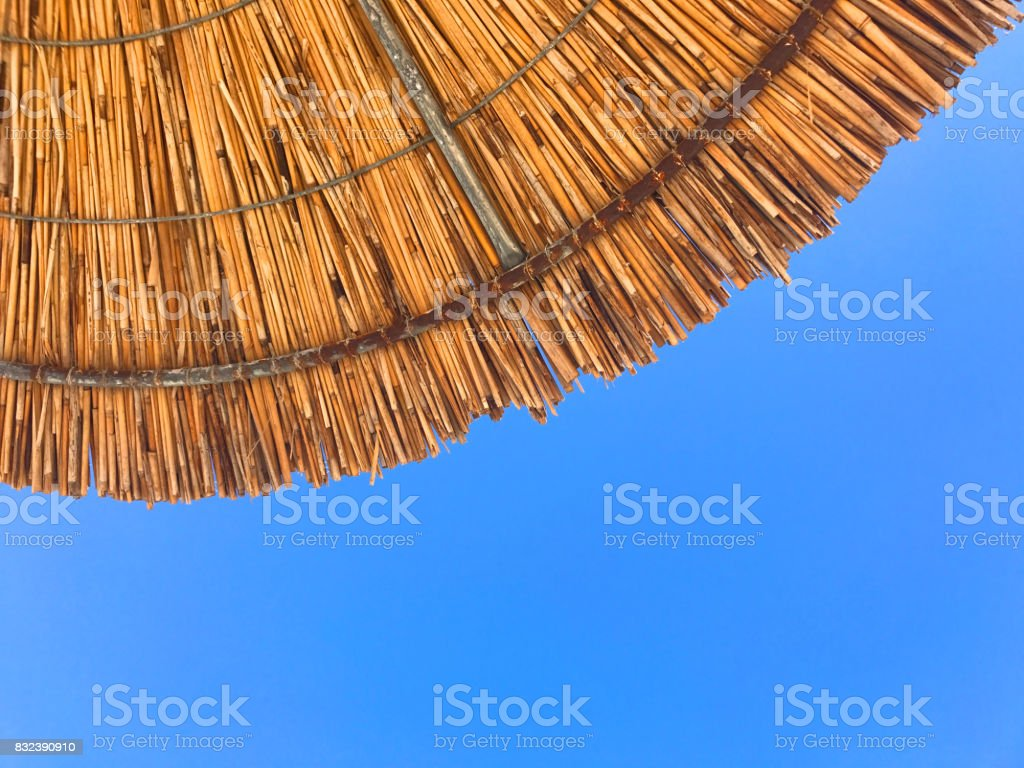 Edge of beach umbrella stock photo