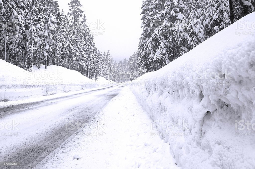 Edge of Road Recently Snow Plowed royalty-free stock photo