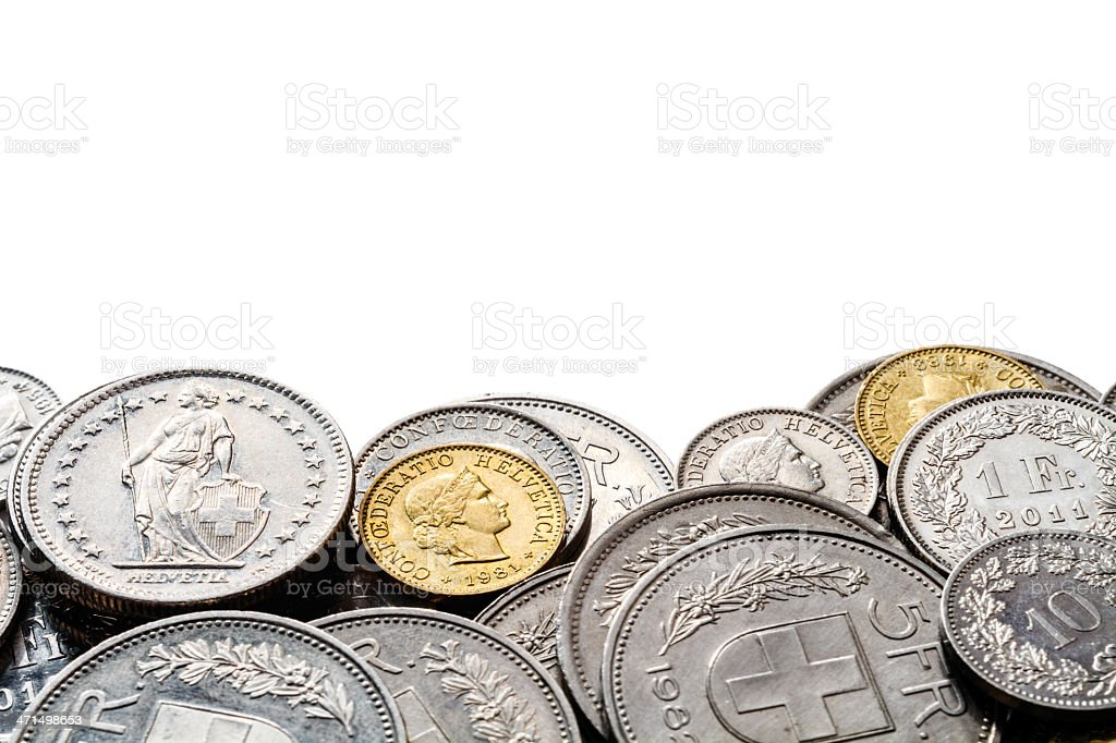 Edge of Swiss Francs Pile with Copy Space stock photo