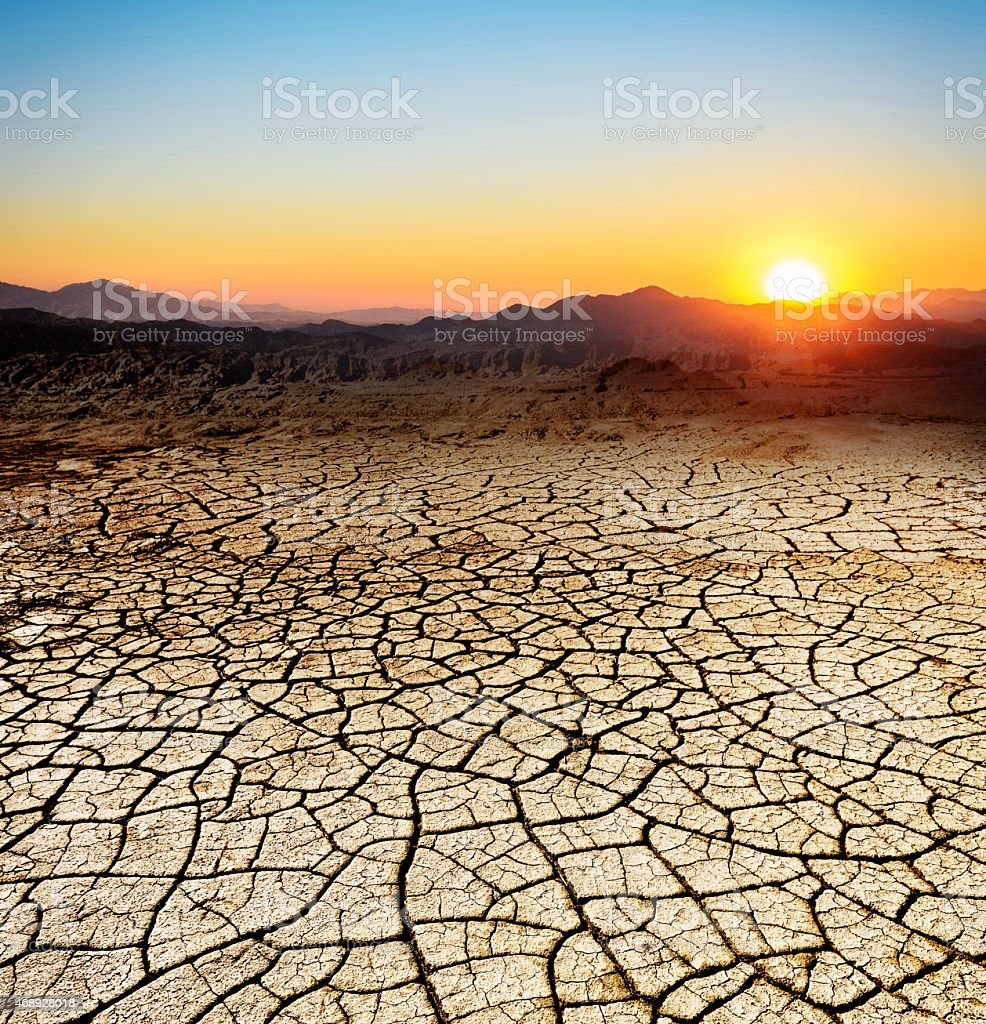 Edge of the desert sunset arid zones stock photo