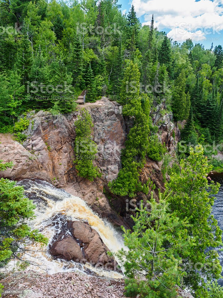 Edge of the HIgh Falls of Baptism River stock photo