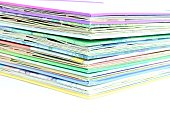 Edge of the stack of colored paper