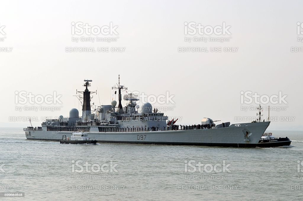 HMS Edinburgh At Portsmouth stock photo