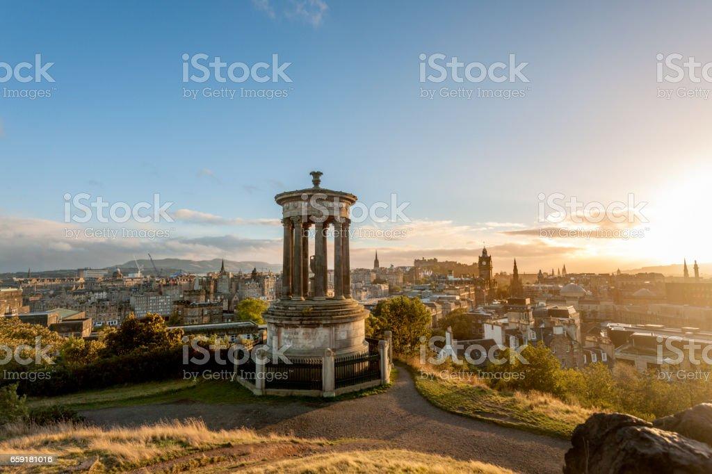 Edinburgh, Calton hill at sunset, Scotland. stock photo