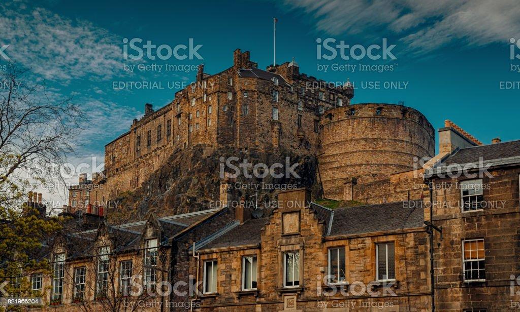 Edinburgh Castle against blue sky stock photo
