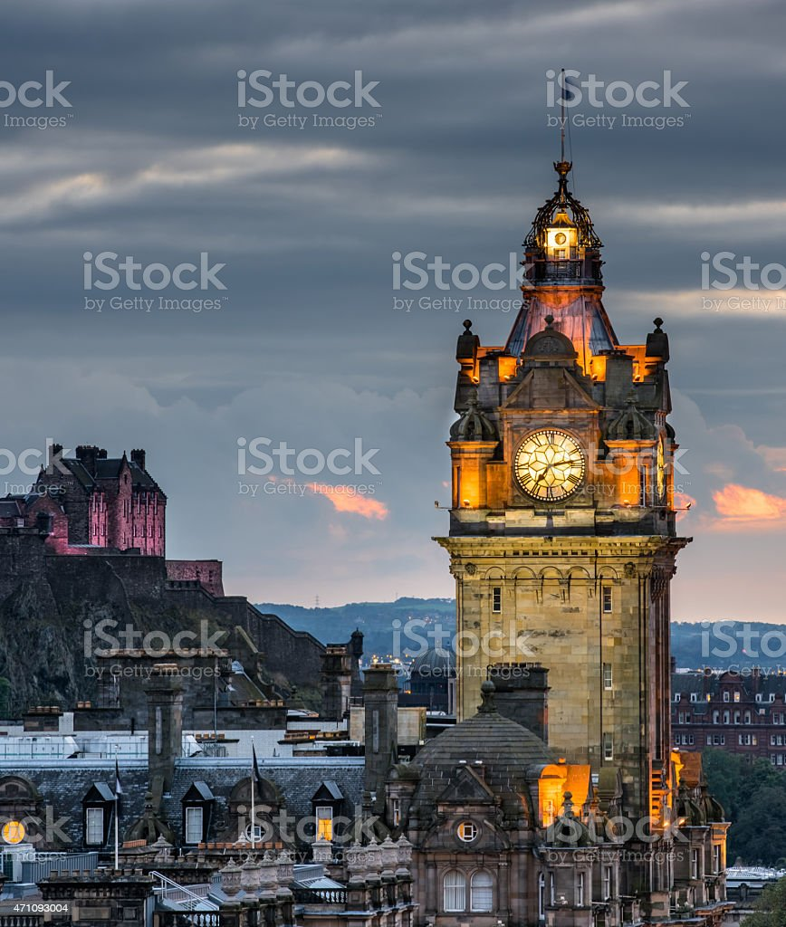 Edinburgh castle and Cityscape at night, Scotland UK stock photo