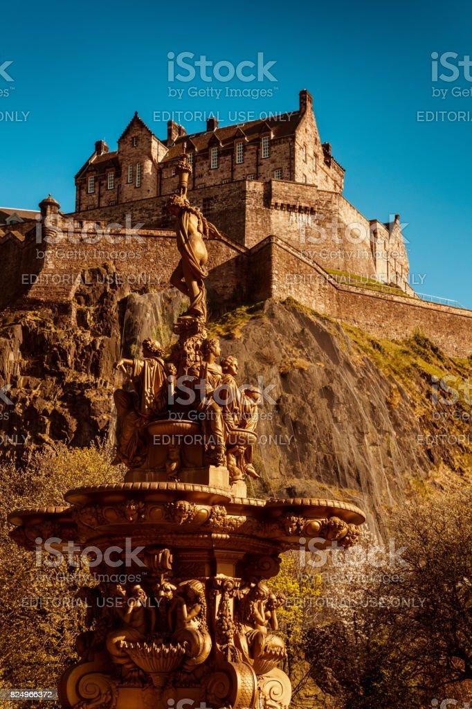Edinburgh Castle and Ross Fountain stock photo