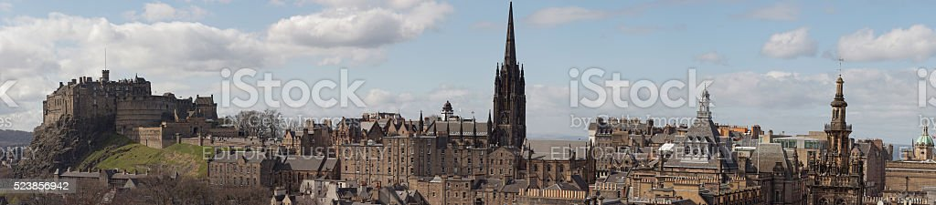 Edinburgh castle and Royal Mile panorama from the south stock photo
