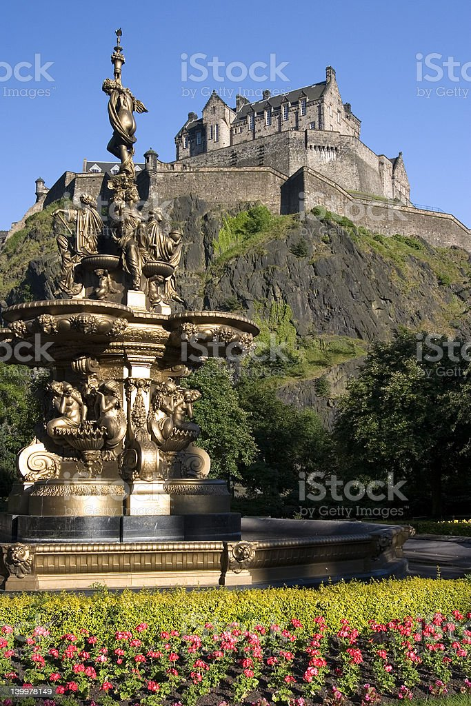 Edinburgh Castle and the Ross Fountain royalty-free stock photo