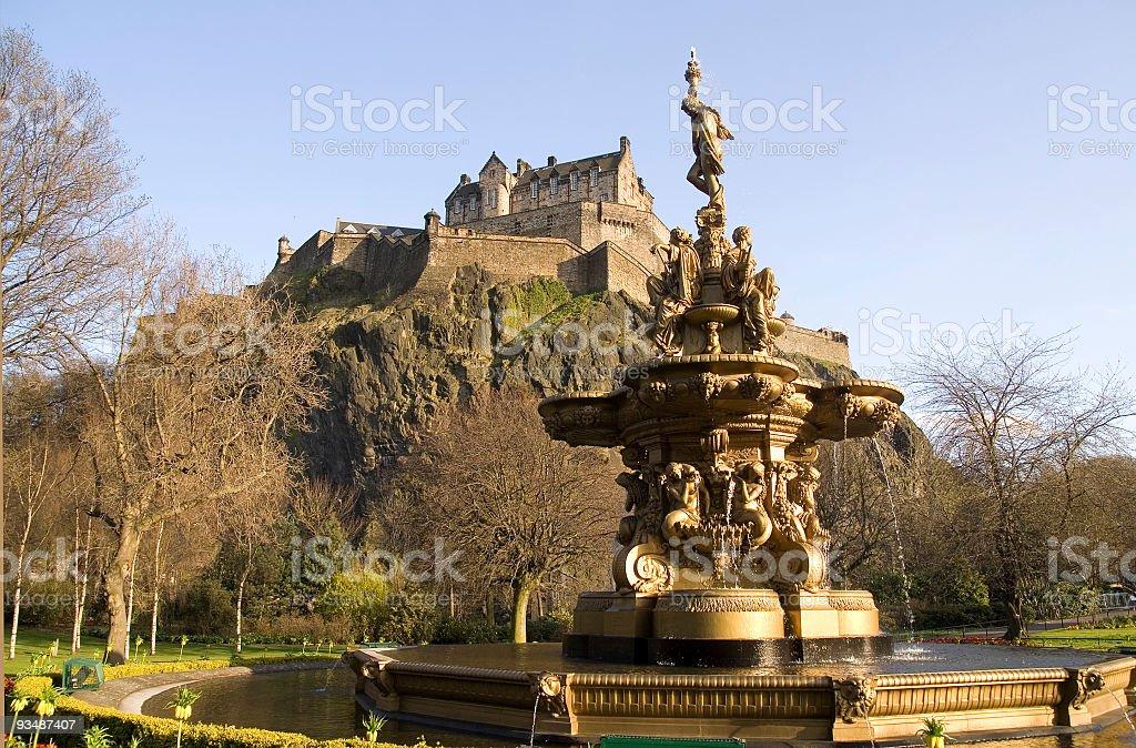 Edinburgh Castle and the Ross Fountain stock photo