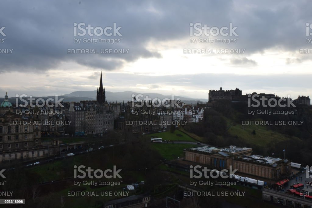 Edinburgh Castle and the top of the Royal Mile stock photo