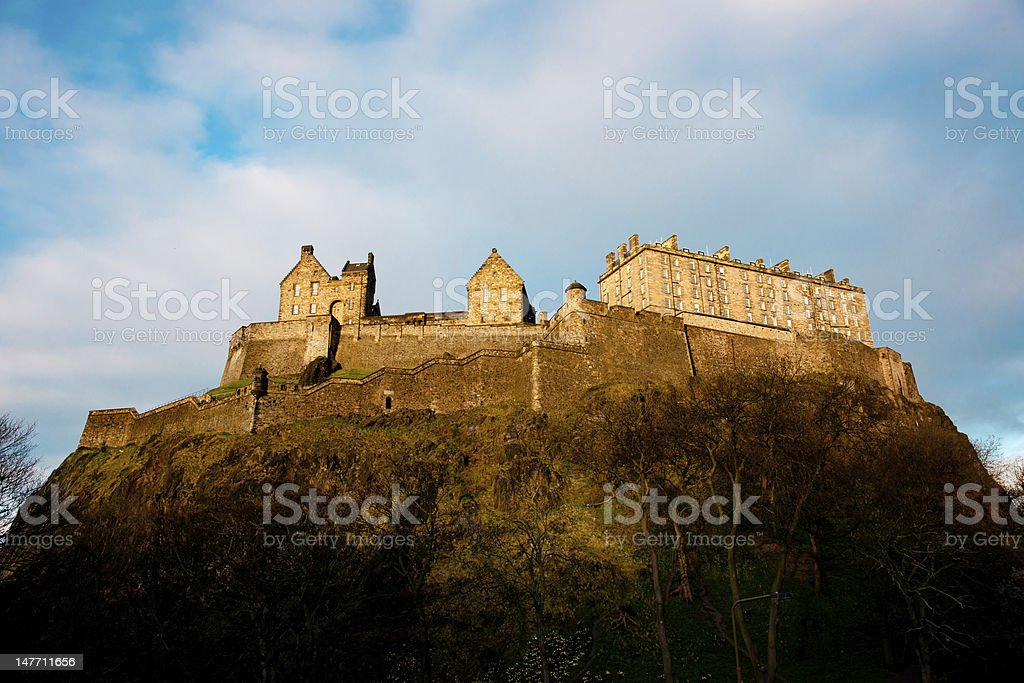 Edinburgh Castle at sunset stock photo