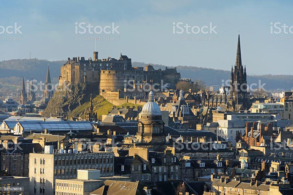 Edinburgh Castle Cityscape, Scotland, UK stock photo