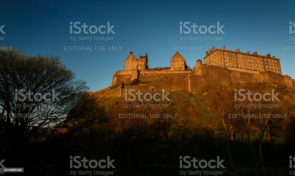 Edinburgh Castle during sunset stock photo