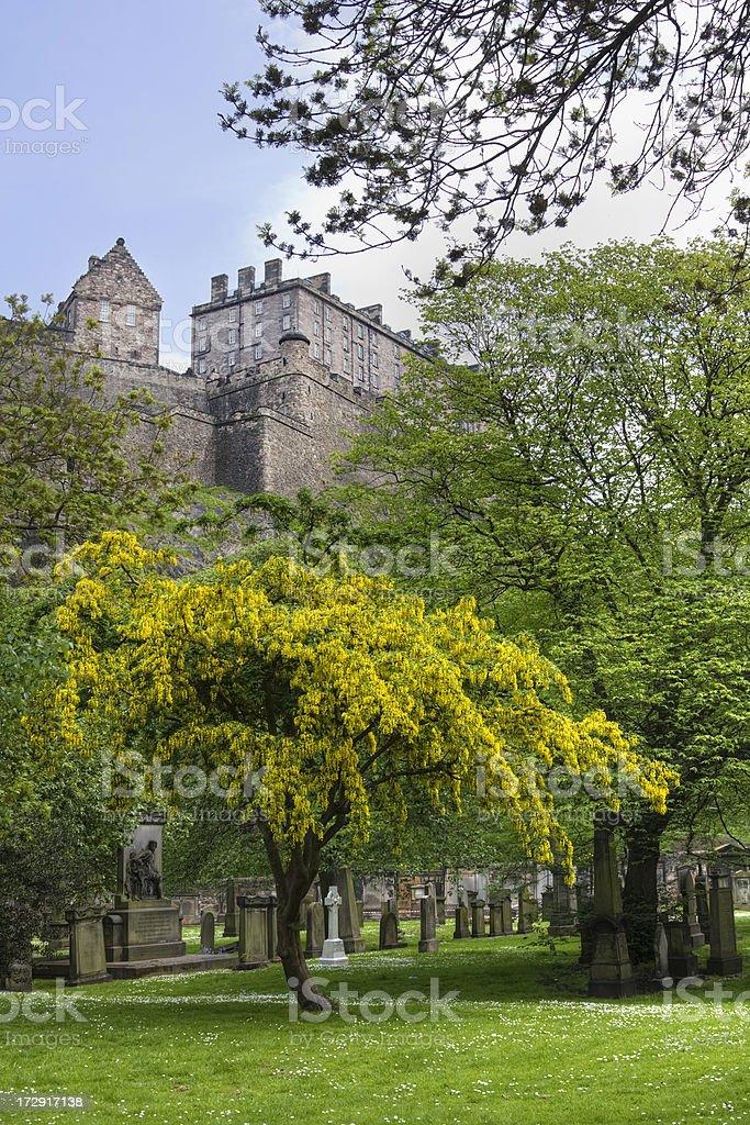 Edinburgh Castle From St Cuthbert's Graveyard royalty-free stock photo
