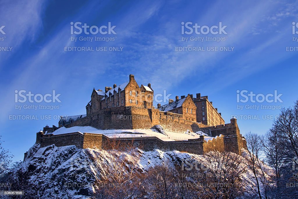 Edinburgh Castle In Winter Sunset stock photo
