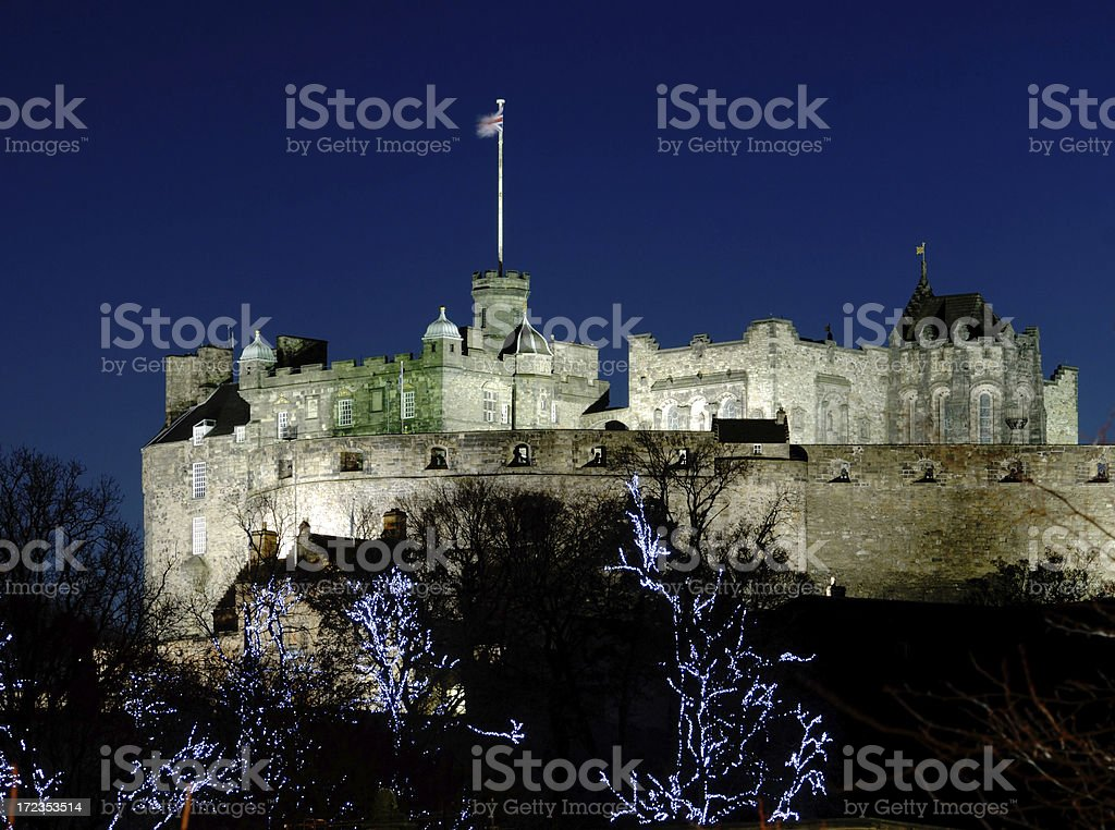 Edinburgh Castle on Winter Night stock photo