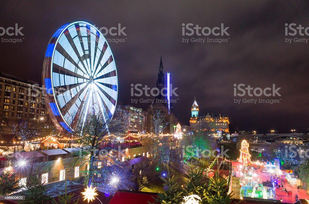 Edinburgh Christmas Festival Amusement Attractions stock photo