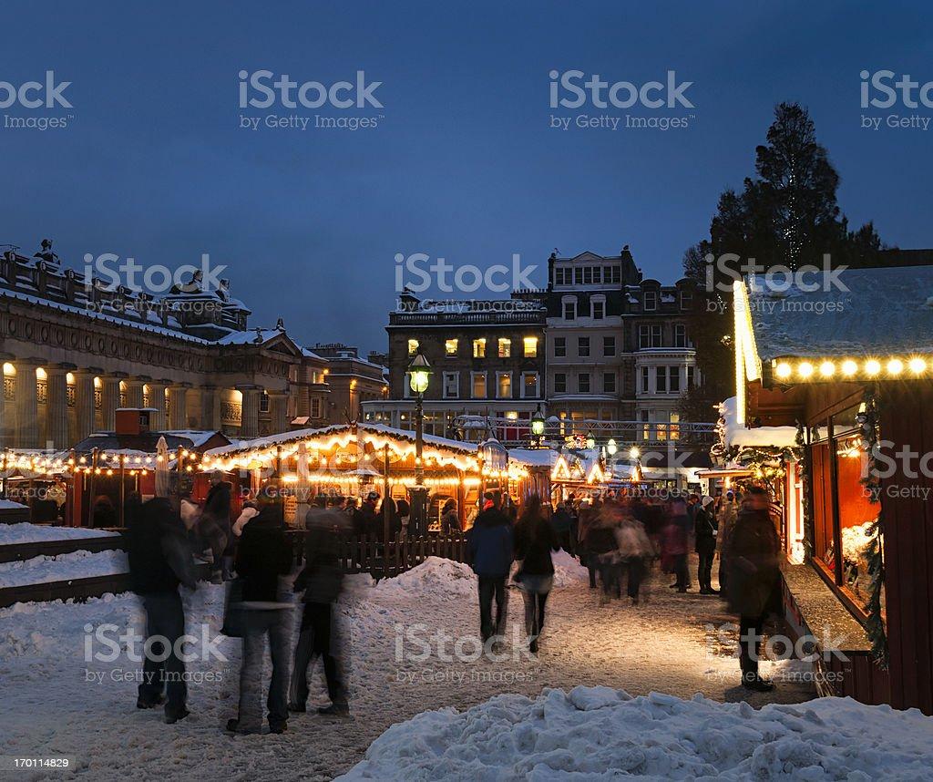 Edinburgh Christmas Market in Snow royalty-free stock photo