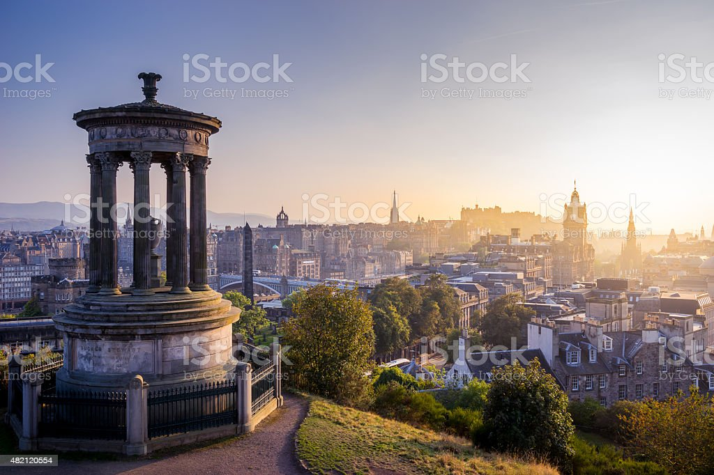 Edinburgh city in winter from Calton hill, Scotland, UK stock photo