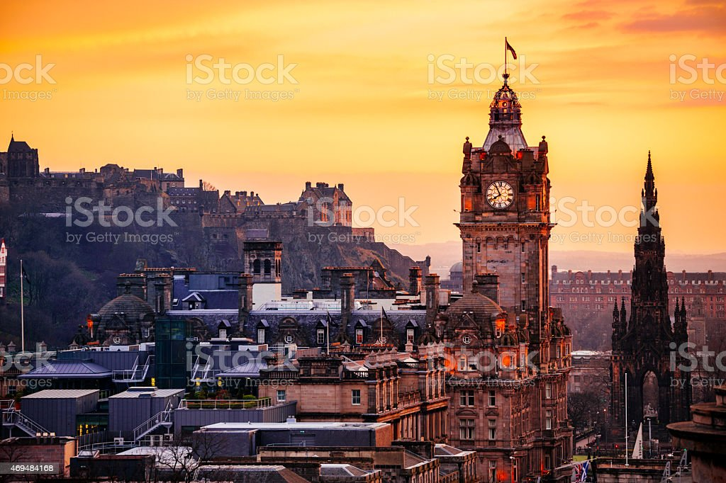 Edinburgh City Skyline At Sunset stock photo