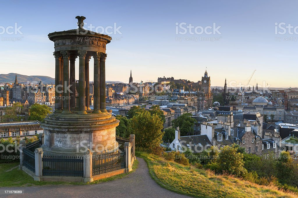 Edinburgh Cityscape from Calton Hill, Scotland stock photo