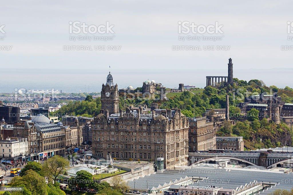 Edinburgh Cityscape - Old Waverley Hotel stock photo