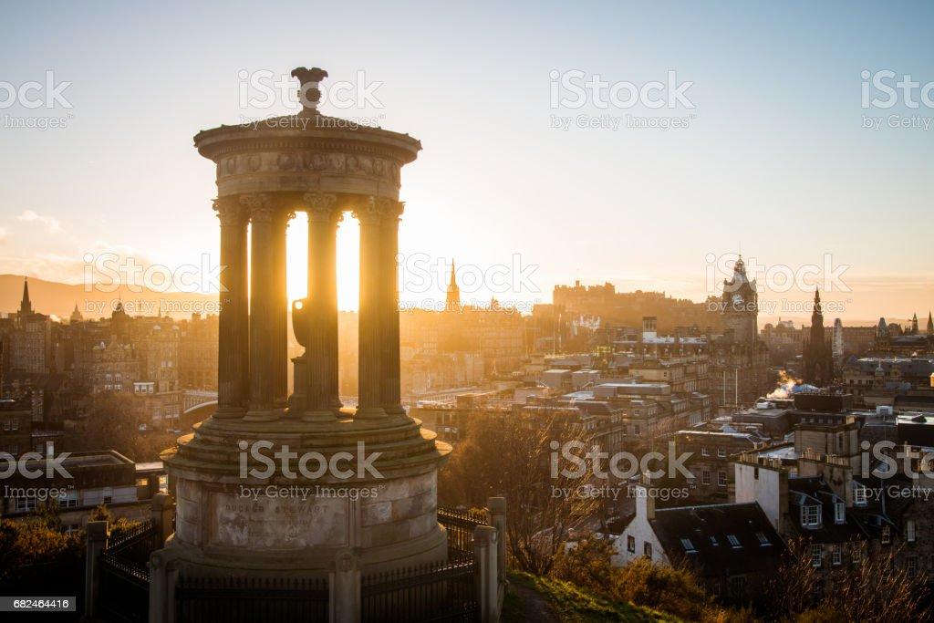 Edinburgh Cityscape Sunset Dugald Stewart Monument Calton Hill stock photo