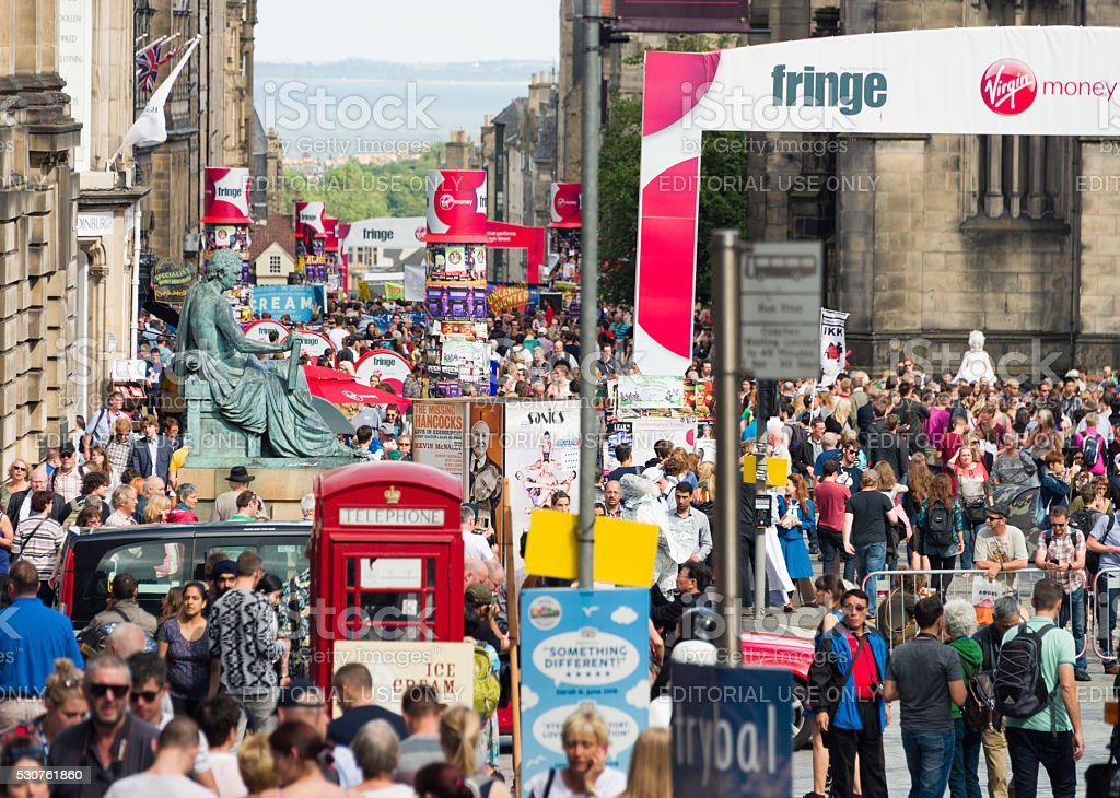 Edinburgh crowds during the Festival stock photo