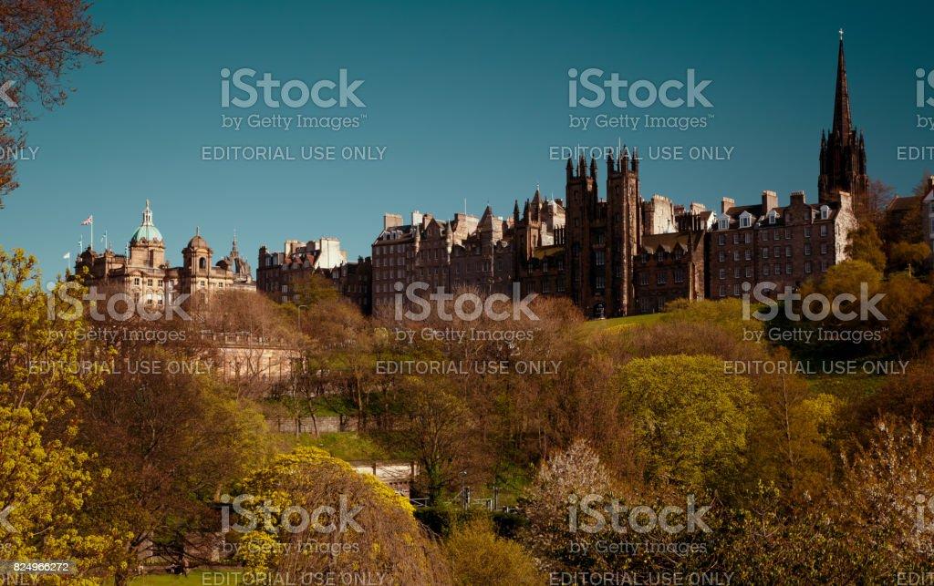 Edinburgh downtown and City Hall stock photo