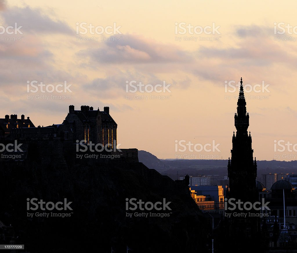 Edinburgh Evening Sillhouette stock photo