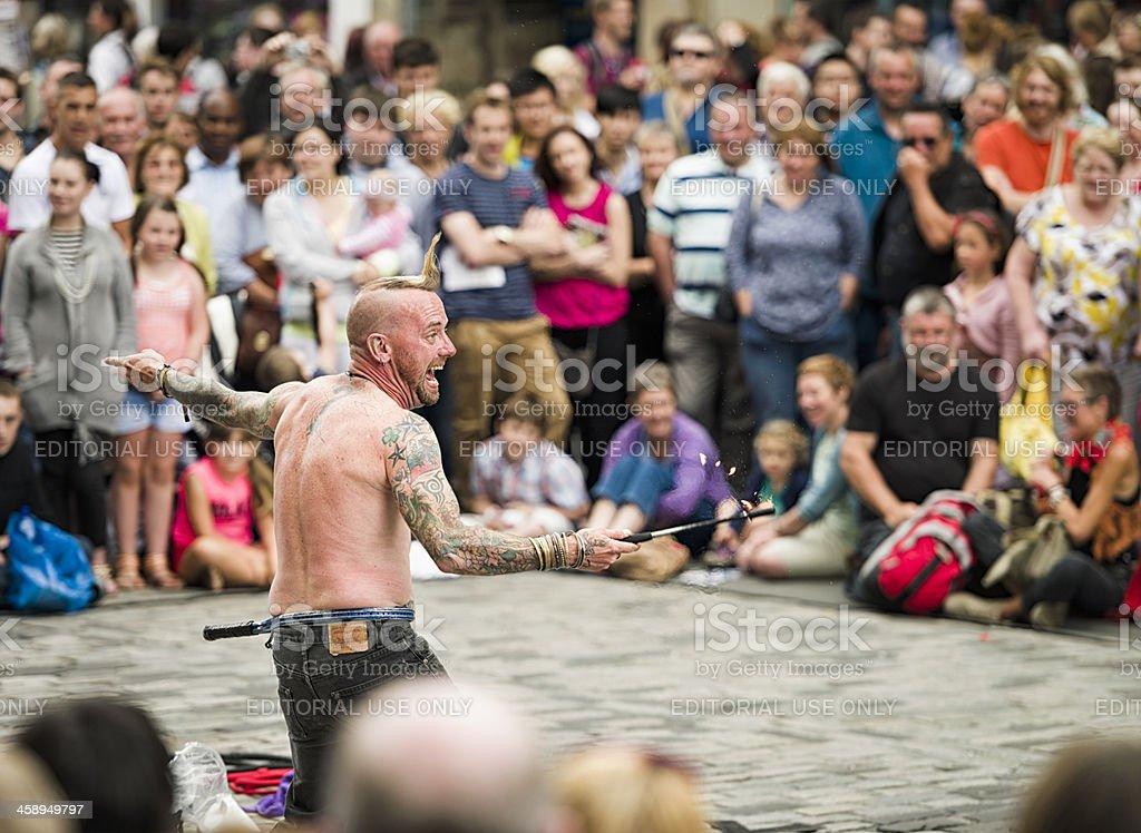 Edinburgh Festival Street Performer stock photo