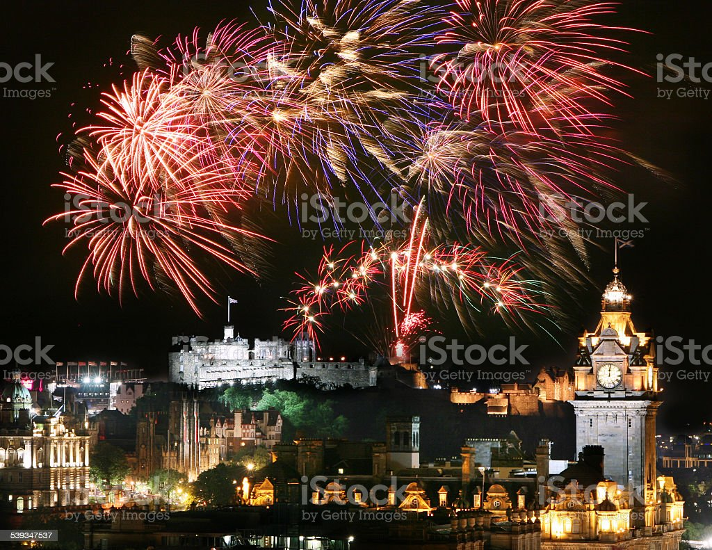 Edinburgh Fireworks stock photo