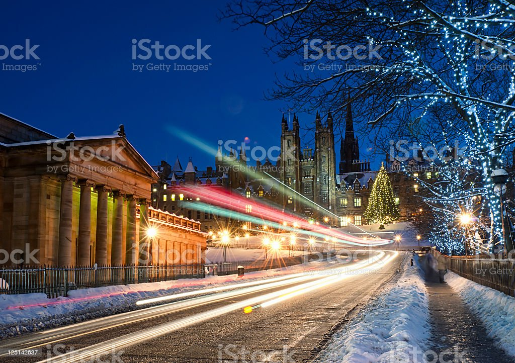 Edinburgh in December Snow stock photo