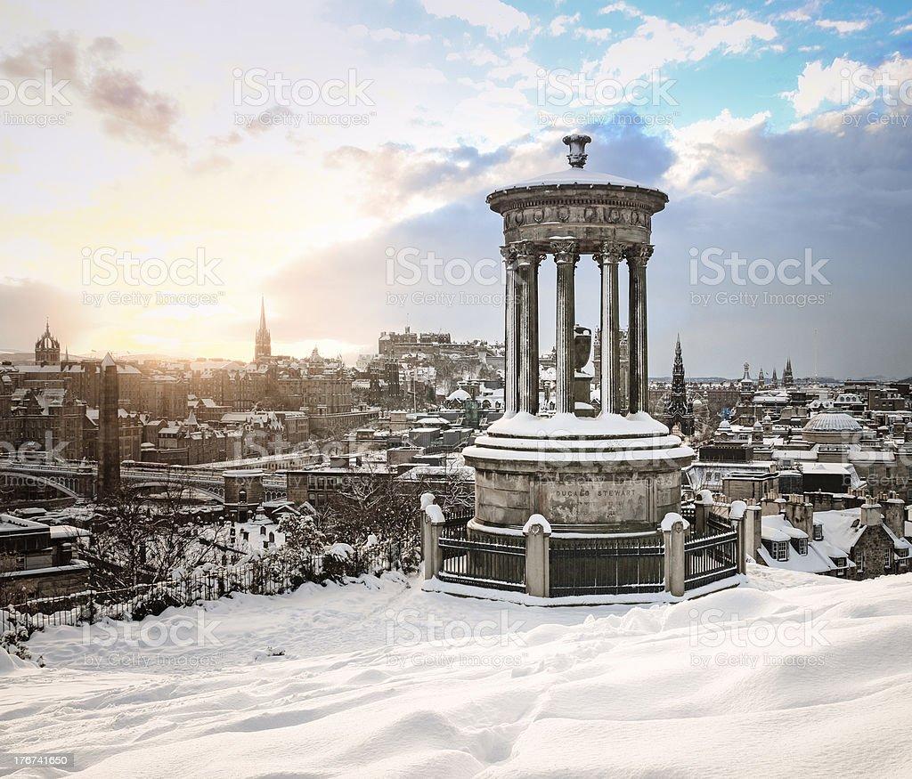 Edinburgh in Winter from Calton Hill stock photo
