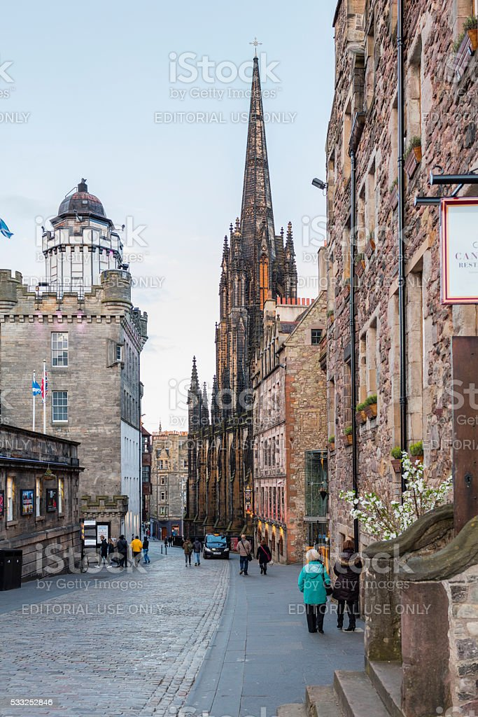 Edinburgh, Scotland. Beginning of Royal Mile with pedestrians and tourists stock photo