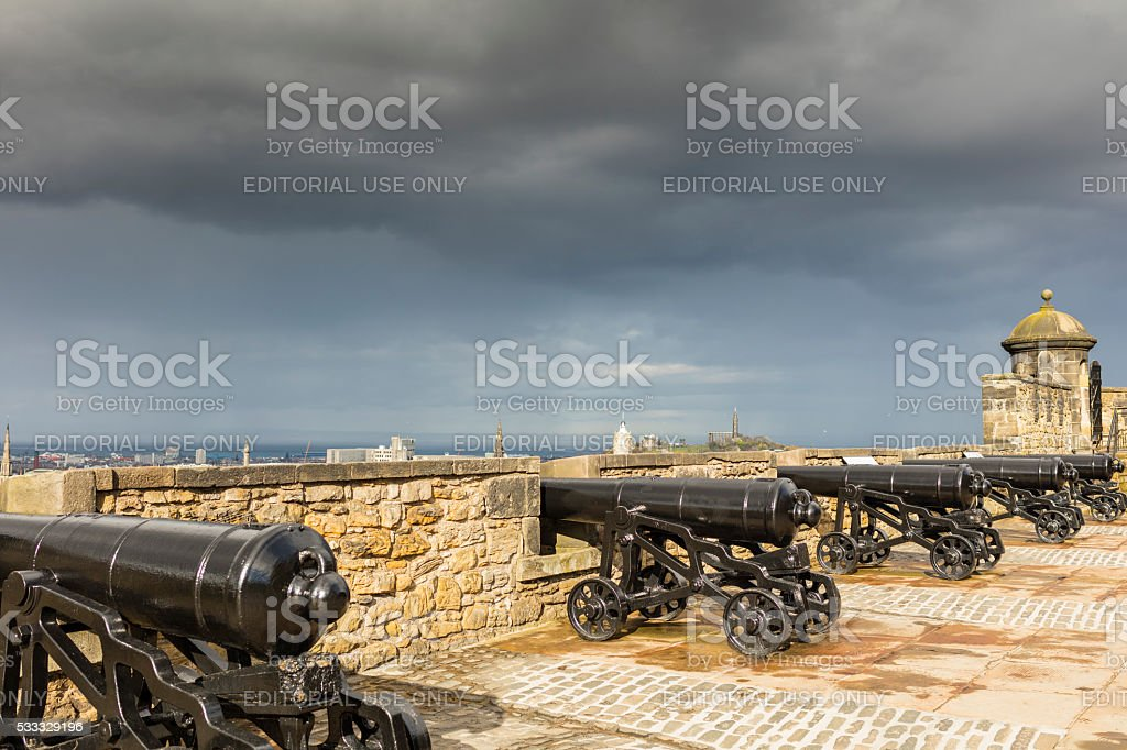 Edinburgh, Scotland. Cannons on the Castle ramparts stock photo