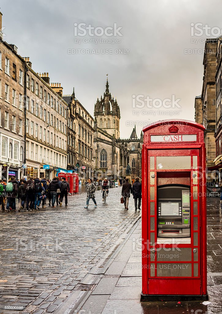 Edinburgh, Scotland. Telephone box converted into an ATM stock photo