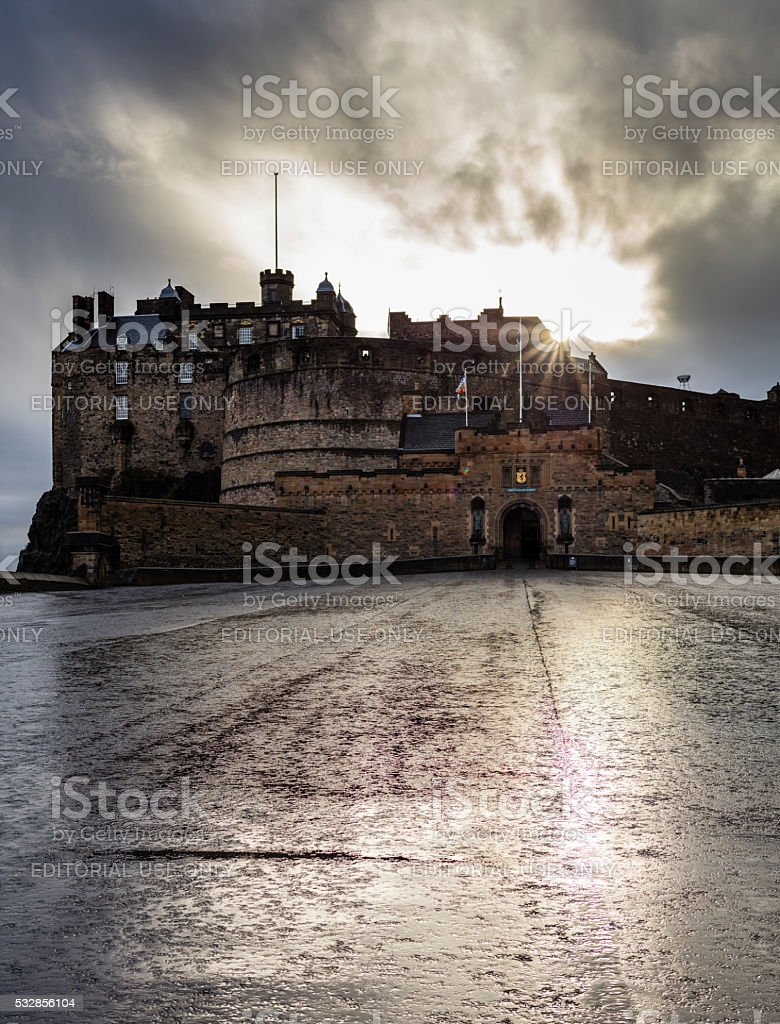 Edinburgh, Scotland. The sun is setting behind the Castle stock photo