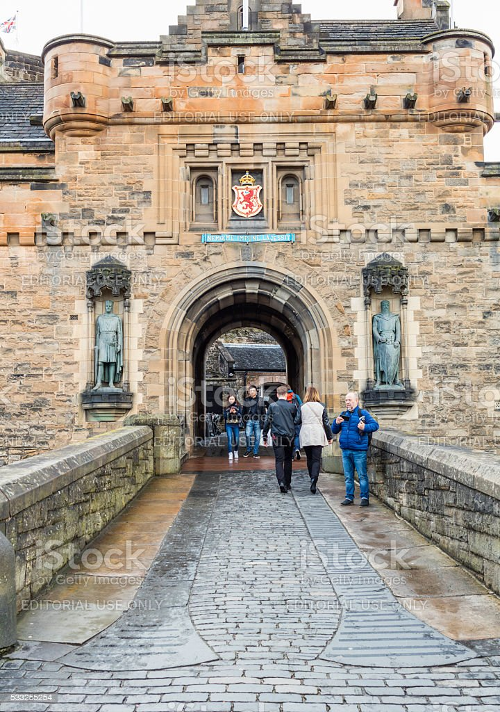 Edinburgh, Scotland. Tourists at the entrance of the Castle stock photo