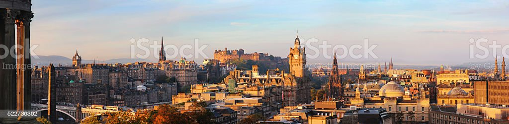 Edinburgh skyline panorama stock photo