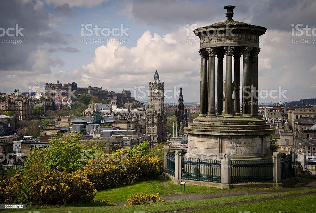 Edinburgh skyline view from Calton HIll of Castle stock photo