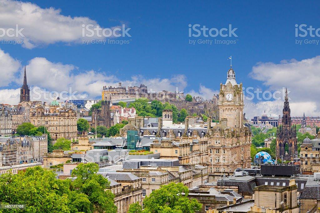 Edinburgh Skyline with Scott Monument and Edinburgh Castle, Scotland, UK. stock photo
