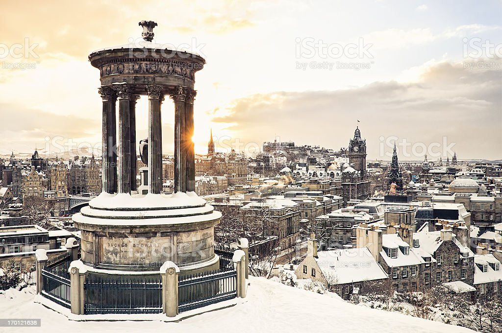 Edinburgh Under Snow stock photo