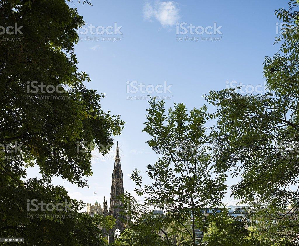 Edinburgh Vignette with the Scott Monument stock photo