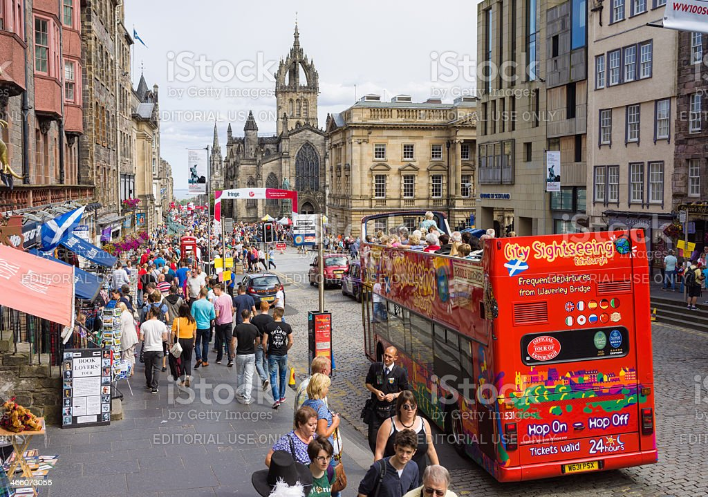 Edinburgh's Royal Mile busy during the city's annual festival stock photo