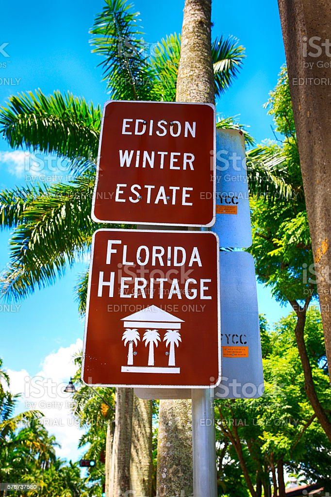 Edison & Ford Winter Estates sign in Fort Myers, FL stock photo