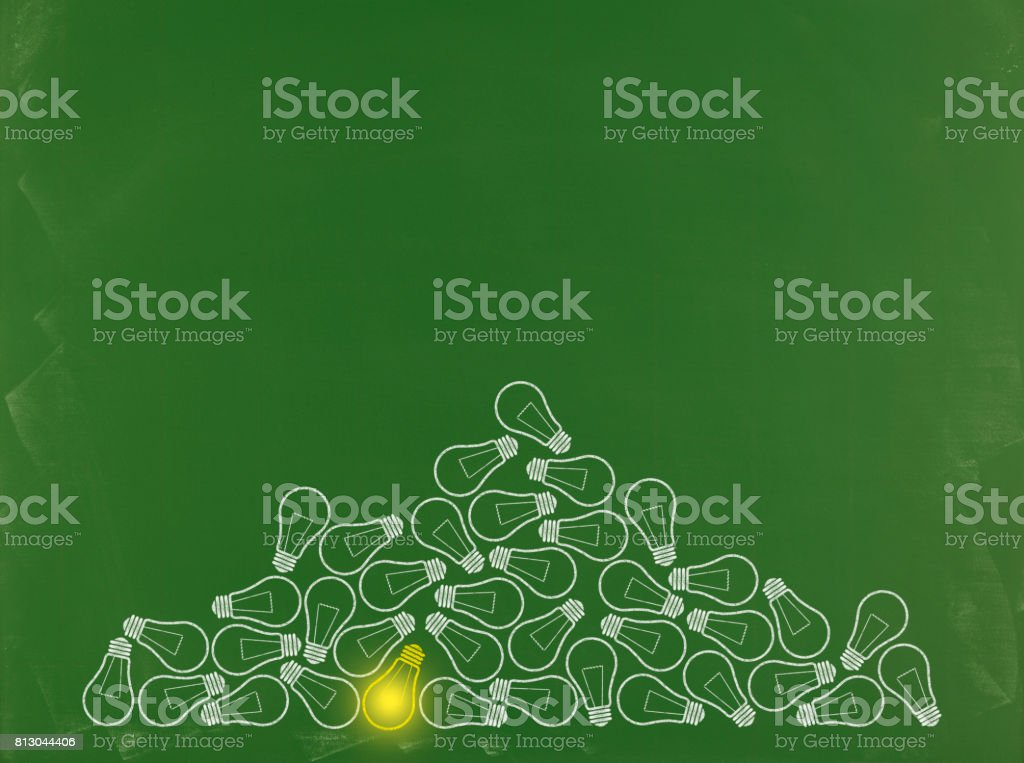 Edison Light Bulb Concept - Business Chalkboard Background stock photo