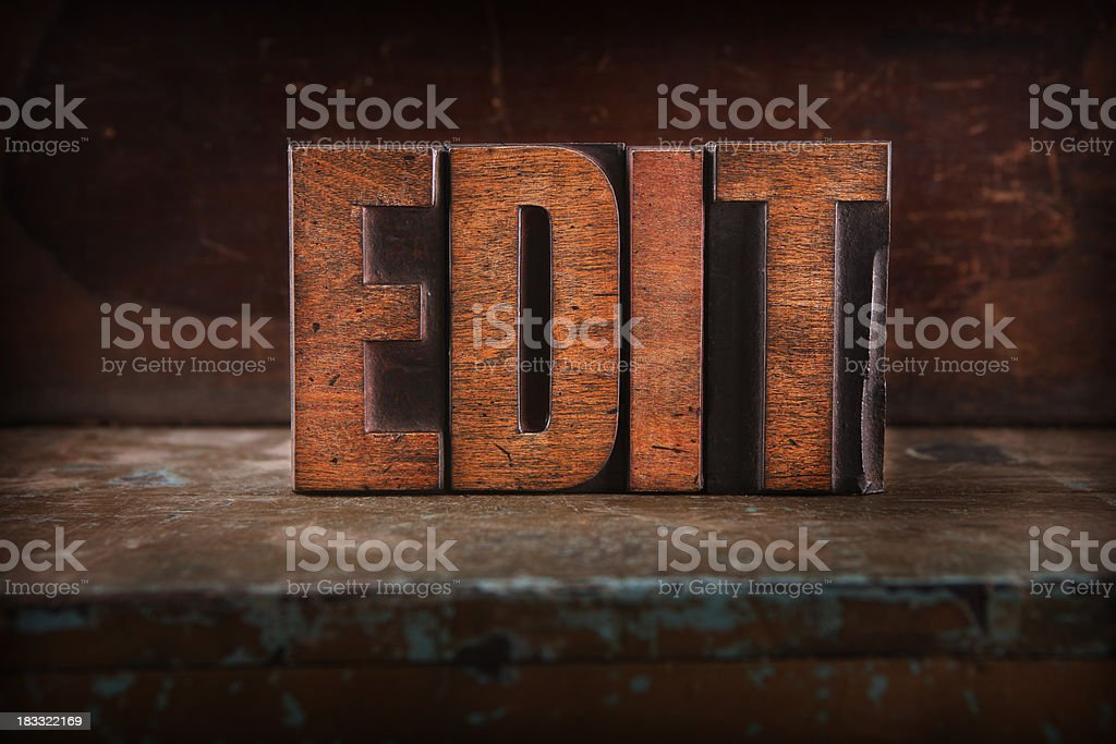 Edit - Letterpress letters royalty-free stock photo
