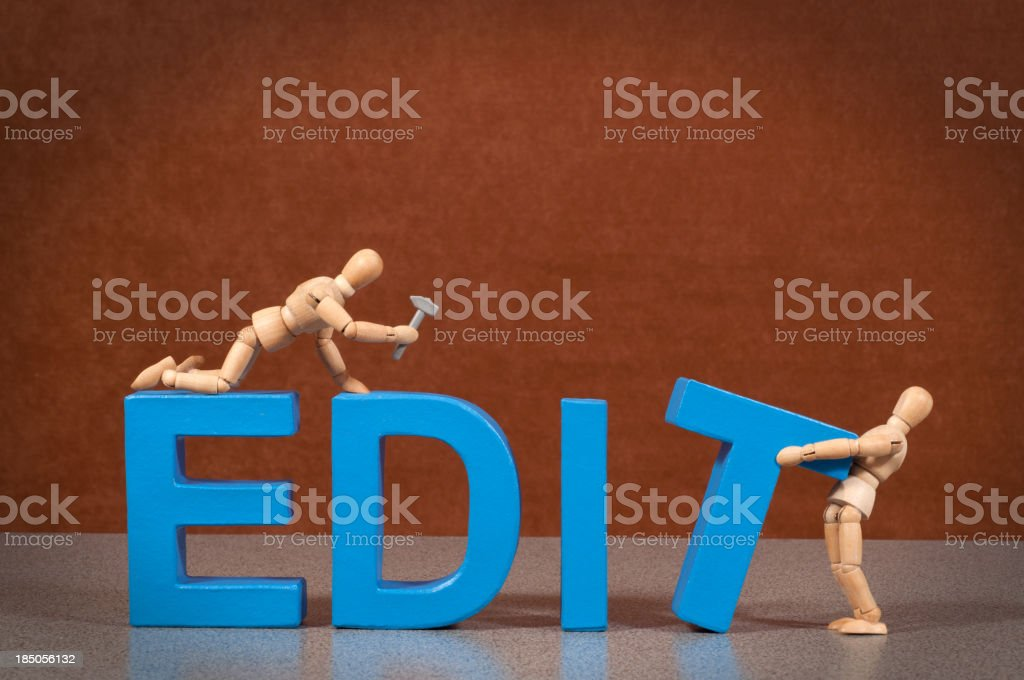 Edit - Wooden Mannequin demonstrating this word stock photo